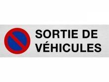"Plaque de parking ""SORTIE DE VÉHICULES"""