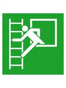 Rettungsschild Alu Fluchtleiter links 200x200 (0150.0020)