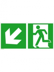 Rettungsschild Alu Notausgang schräg links/abwärts